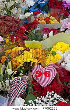 Flowers laid to commemorate the 25th anniversary of the hillborough disaster that killed 96 spectators poster