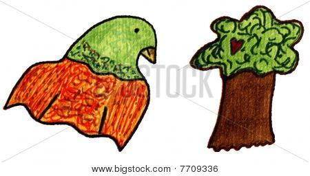 Whimsical clip art of a parrot and a tree with red heart. poster
