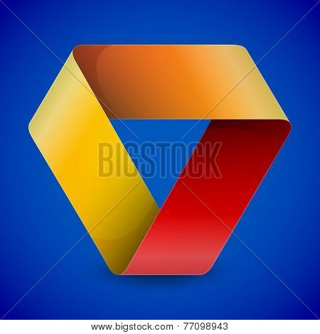 Moebius origami colorful paper triangle on blue background