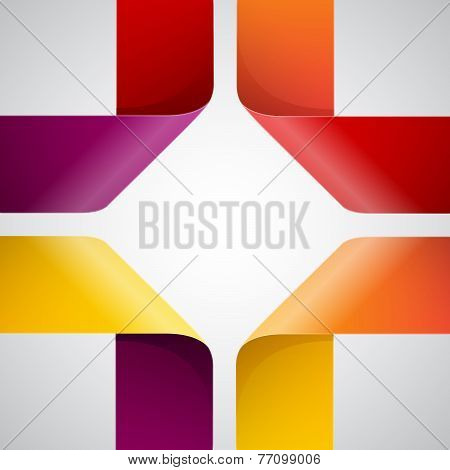 Moebius origami colorful paper triangles on white background