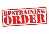 RESTRAINING ORDER red Rubber Stamp over a white background. poster