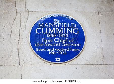 Sir Mansfield Cumming (secret Service) Plaque In London