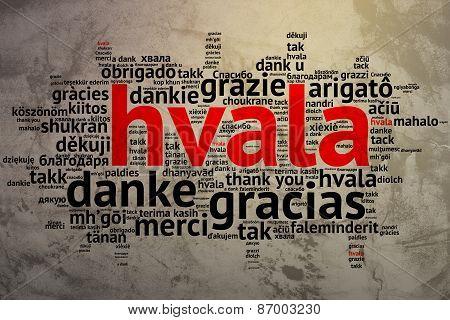 Croation: Hvala, Open Word Cloud, Thanks, Grunge Background