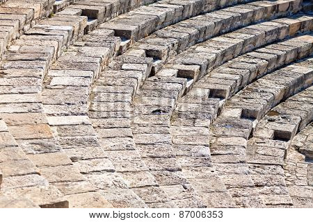 Details of ancient Greek-Roman theater in Kourion Cyprus poster