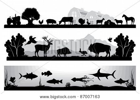 Set Of Black And White Landscapes Wildlife, Farm, Marine Life