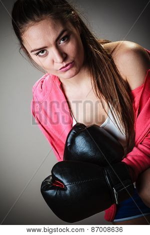 Sport Boxer Woman In Black Gloves Boxing