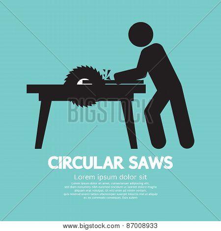 Circular Saws Black Symbol Vector Illustration. EPS 10 poster