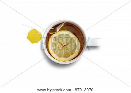Mug Of Fresh Black Tea With Lemon