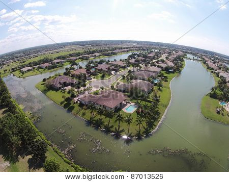 Lakefront Homes Aerial View