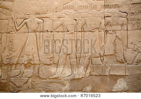 Detail of relief in Luxor, Egypt