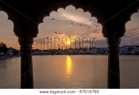 Sunset In Pushkar In A Pavilion