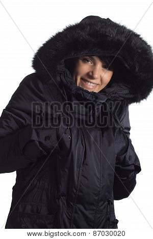 Smiling girl with coat