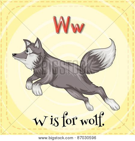 Flashcard letter W is for wolf