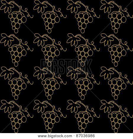 Simple gold lines drawn bunch of grapes on a black background