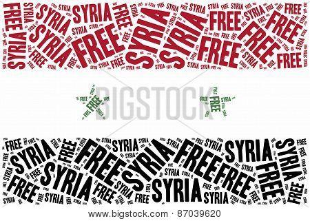 Free Syria. Word Cloud Illustration.