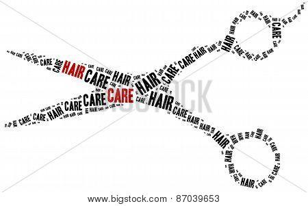Hair Care. Word Cloud Illustration.