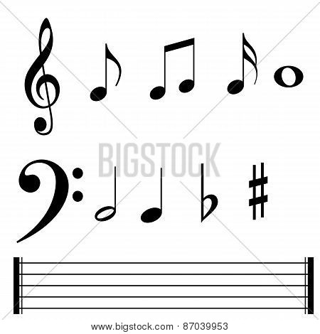 Music note symbols and lines