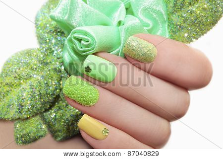 Manicure with green rose.