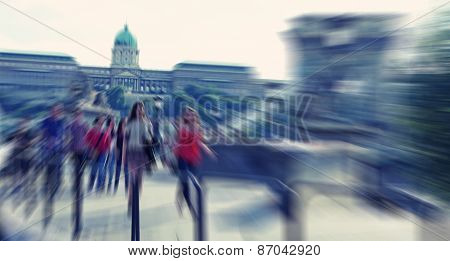 Abstrakt Background. Pedestrians Walking - Rush Hour In  Budapest, Hungary.  Radial Zoom Blur Effect