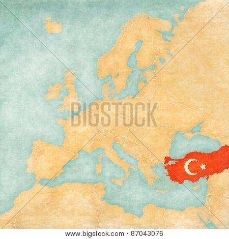 Turkey (Turkish flag) on the map of Europe. The Map is in vintage summer style and sunny mood. The map has soft grunge and vintage atmosphere which acts as watercolor painting on old paper.