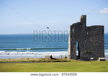 Ballybunion Castle Ruins With Surf School