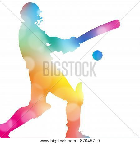 Abstract Cricket Player In Beautiful Summer Haze.