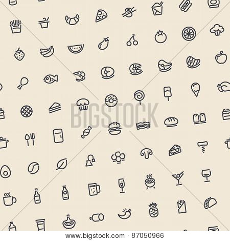 Light Tilted Seamless Pattern with Dark Food Icons