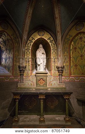 Statue Of The Holy Mary Inside The Upper Basilica