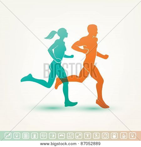 running man and woman silhouette outlined vector sketch fitness concept fitness tracker icons poster