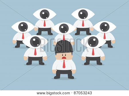 businessman has been observed by eyeball head VECTOR EPS10 poster