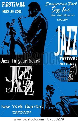 Jazz poster with saxophone, double-bass and piano - Vector illustration