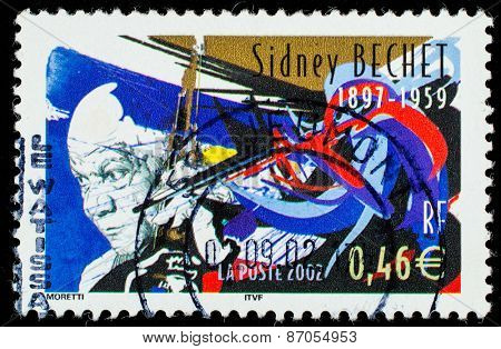 FRANCE - CIRCA 2002: A stamp printed by FRANCE shows image portrait of famous American jazz saxophonist, clarinetist, and composer, circa 2002