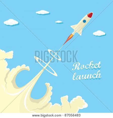 vintage style retro poster of Rocket launcher.