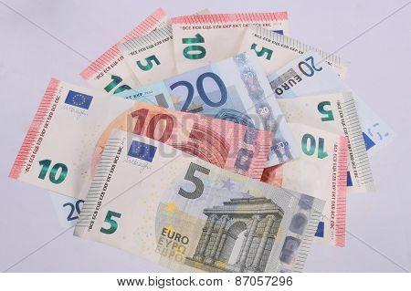 Euro Notes On A Plain White Background.
