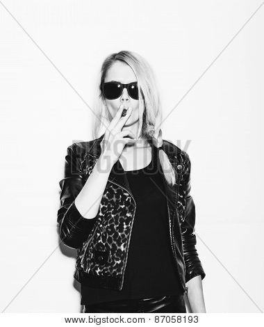 Studio Fashion Photo Of Woman Smoking Cigar