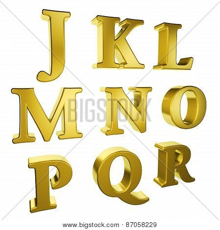 Gold Alphabet J To R
