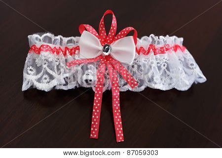 Red Wedding Garter; A Set Of Of A Wedding Garter And A Buttonhole..