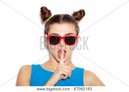 Beautiful Brunette Woman With Finger On Her Lips Showing To Keep Silence, Hush