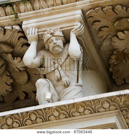 Atlante Of Hercules At The Santa Croce Baroque Church In Lecce