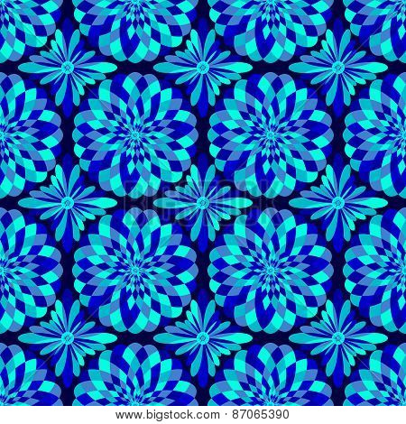 Vector abstract seamless blue pattern