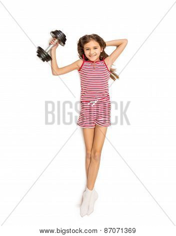 Shot From High Point View Of Girl Doing Exercise With Dumbbell