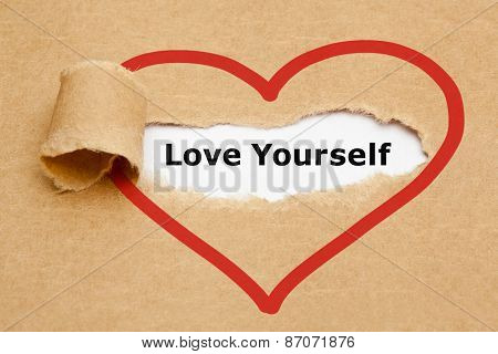 Love Yourself Torn Paper