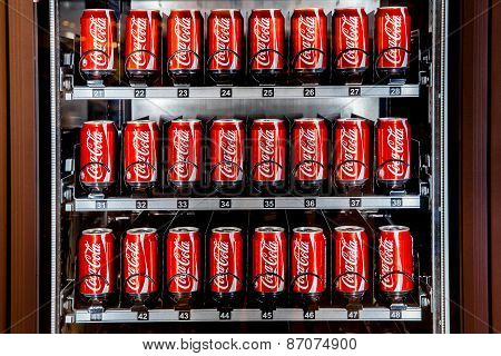 Vending Machine Full Of Coca-cola Cans