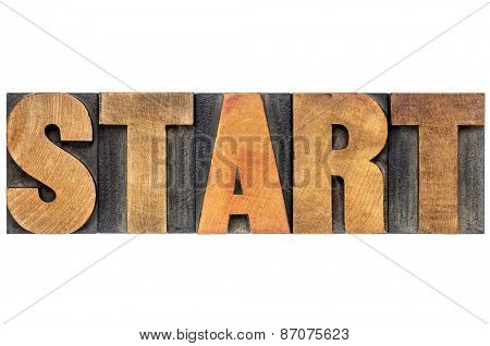 start word typography - isolated text in letterpress woodtype