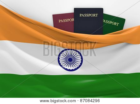 Travel and tourism in India, with assorted passports