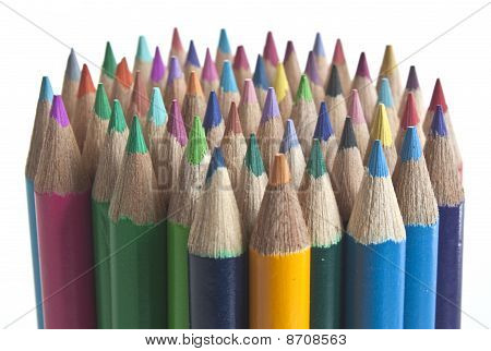 A Stack Of Coloured Pencils