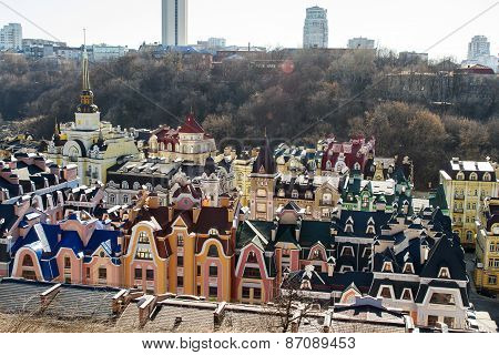 Vozdvizhenka elite district in Kiev Ukraine . Top view on the roofs of buildings. poster