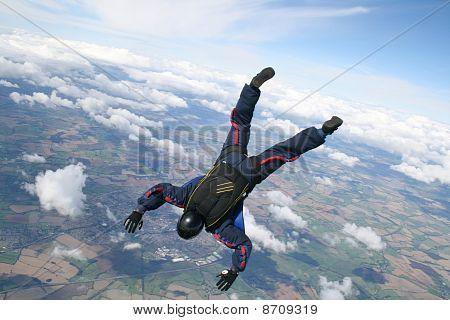 Skydiver dives down