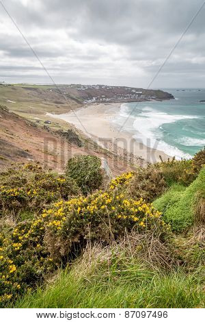 Whitesand bay in cornwall england uk