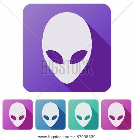 Set Flat icons of Alien head creature